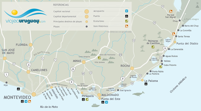 Mapa de playas de Uruguay